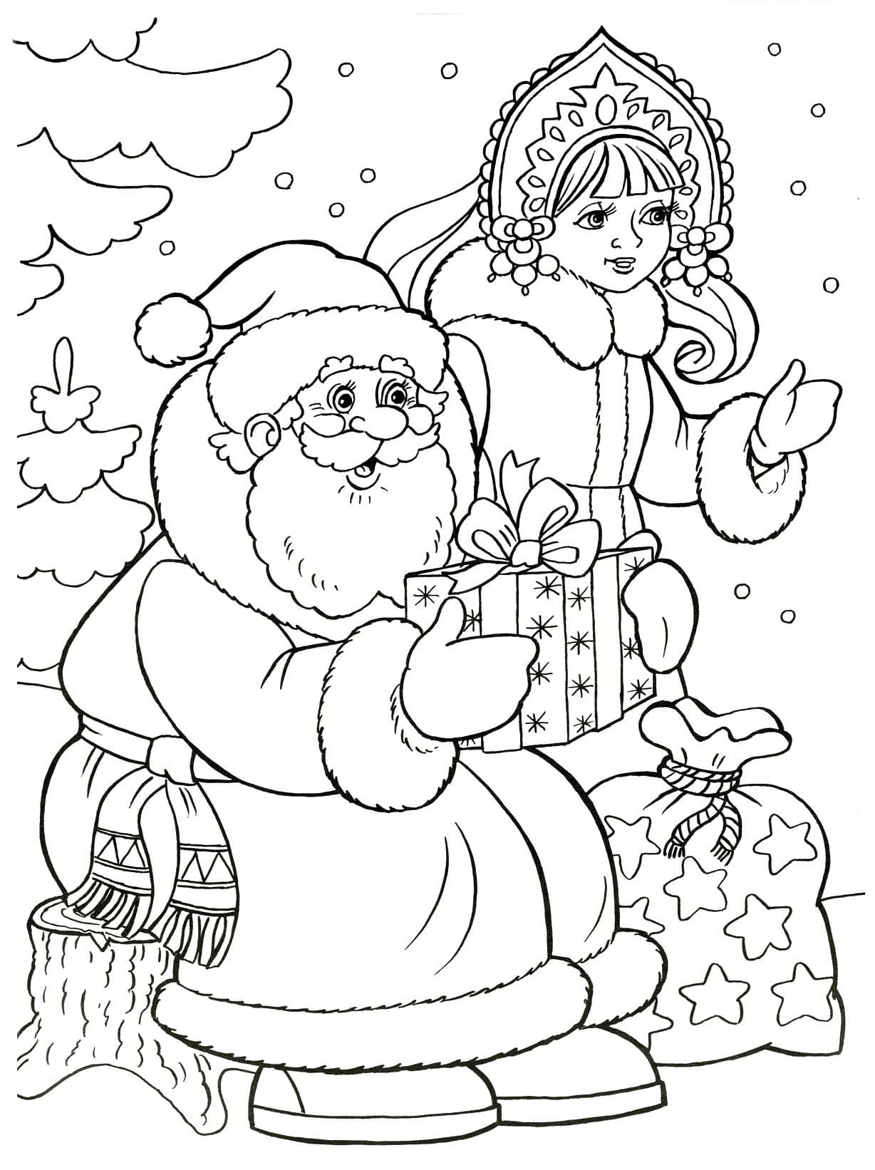Картинки деда мороза и снегурочки для детей для срисовки, прикольные обои