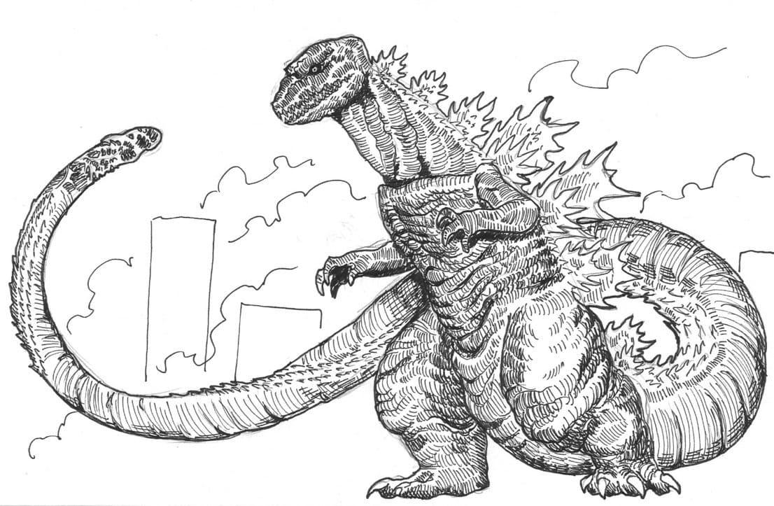 Dibujos de Godzilla para colorear. Imprimir monstruo gratis