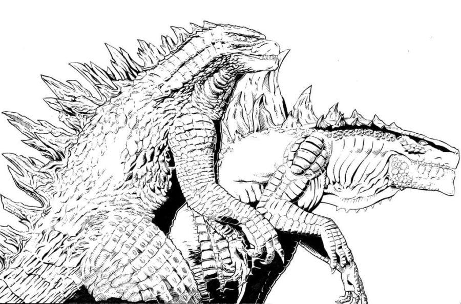 Coloriage Godzilla. Imprimer un monstre gratuitement