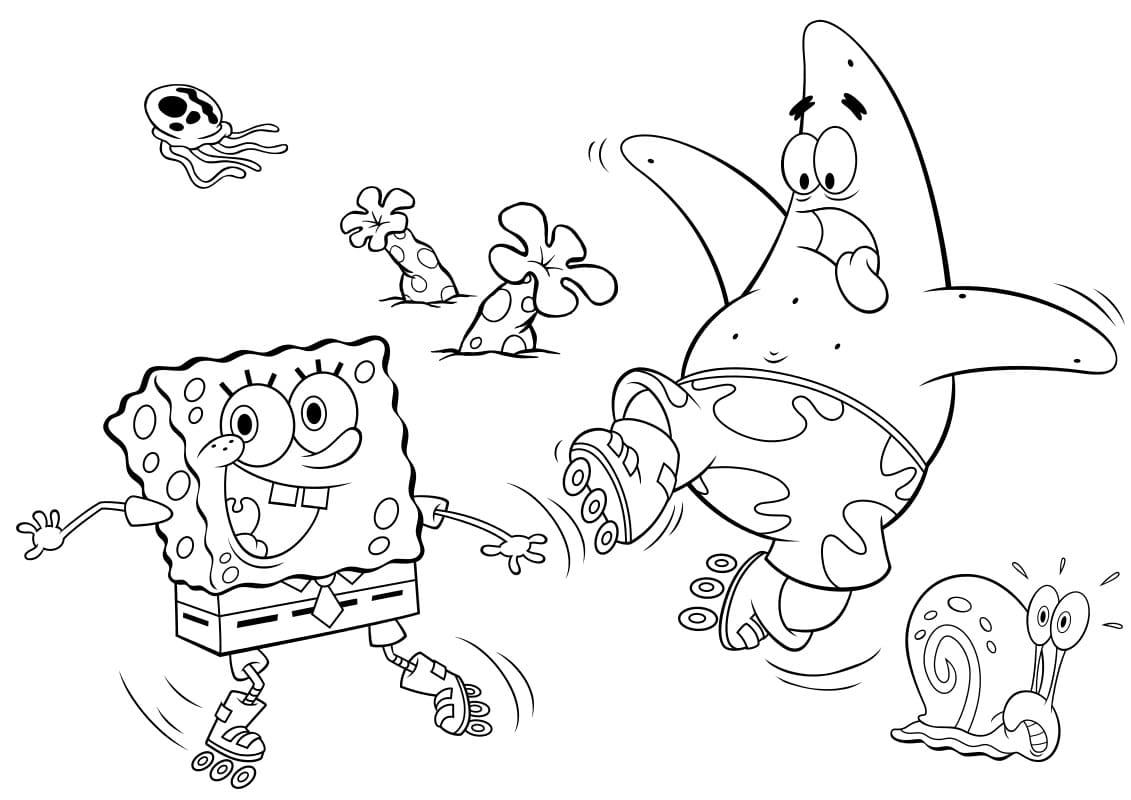 Спанч боб и его друзья картинки раскраски