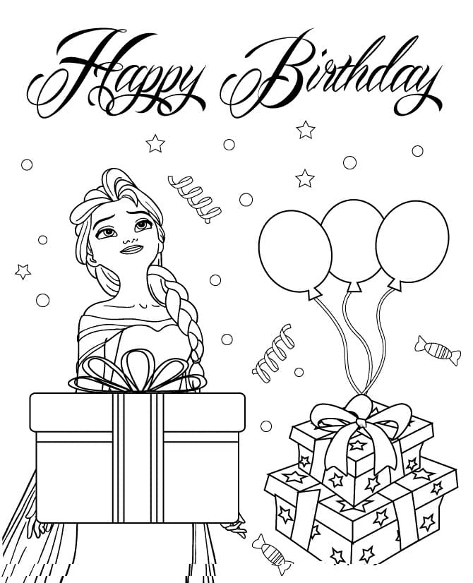 Happy Birthday Coloring Card. New Collection 2020. Free Printable