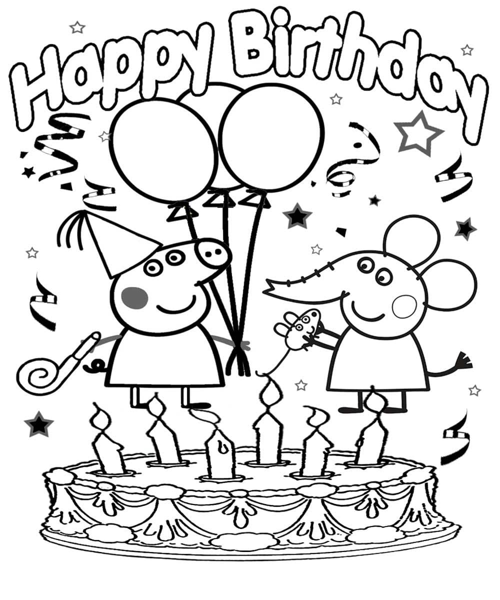 Happy Birthday Coloring Card. New collection 2020. Free ...