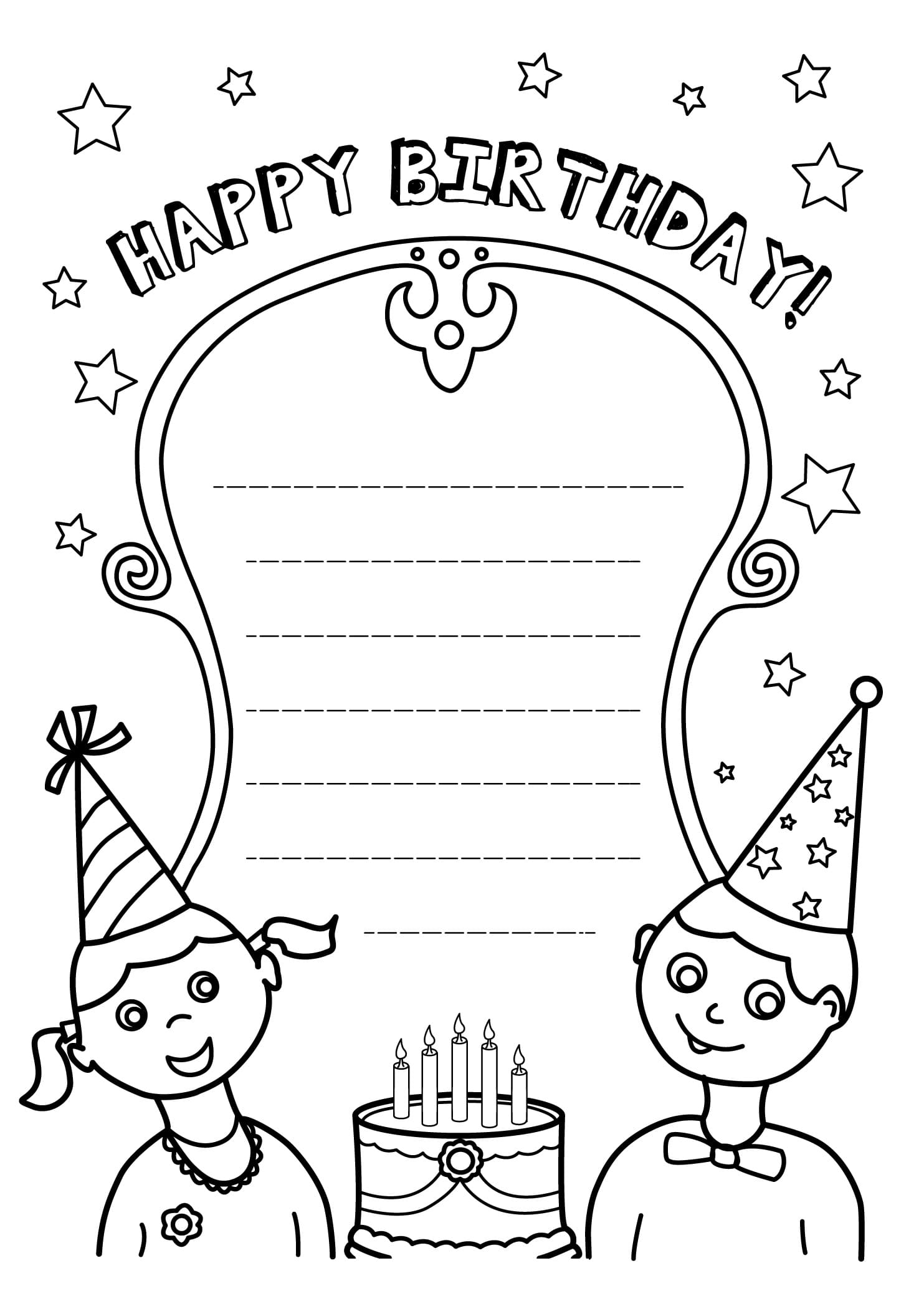 Coloring pages Happy Birthday.Big collection. Print postcards