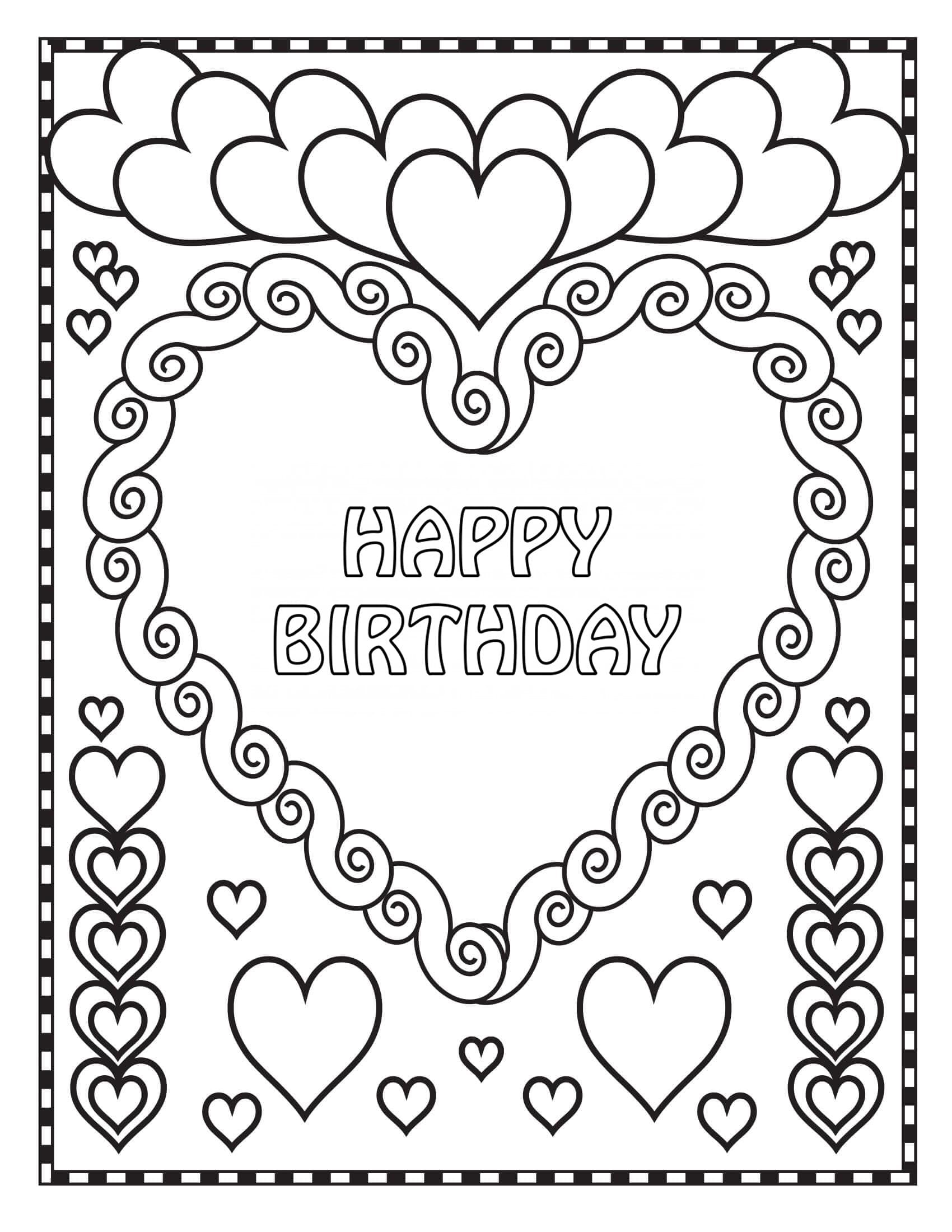 - Coloring Pages Happy Birthday. Big Collection. Print Postcards