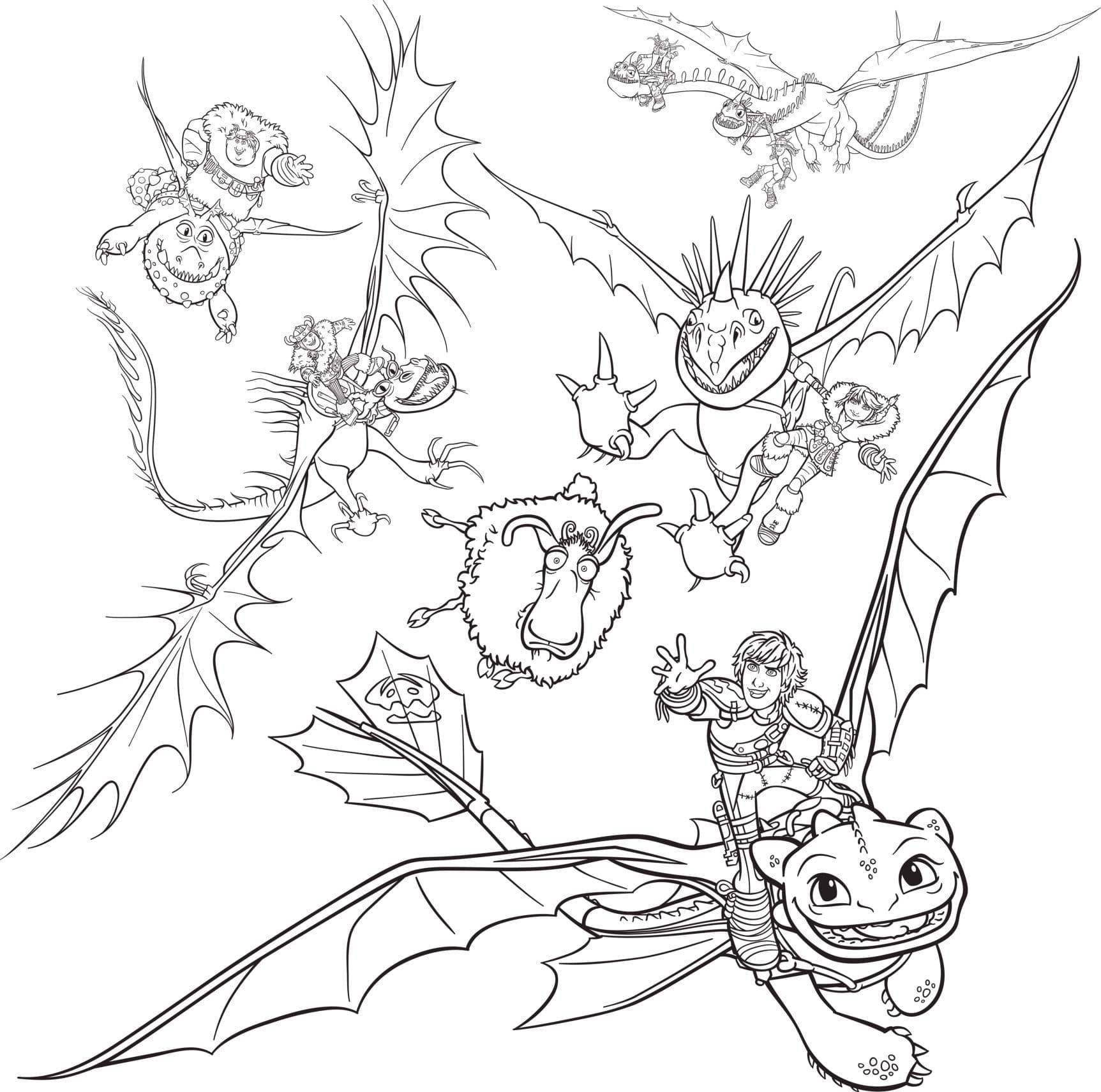 Раскраски Как приручить дракона. Распечатайте бесплатно