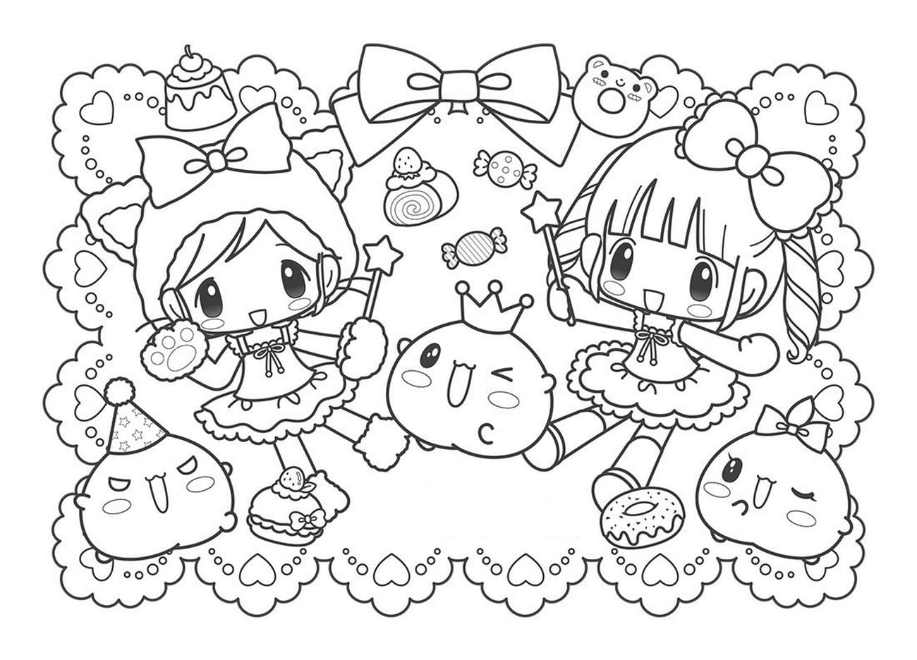 Kawaii Coloring pages. Print unusual characters, 100 images
