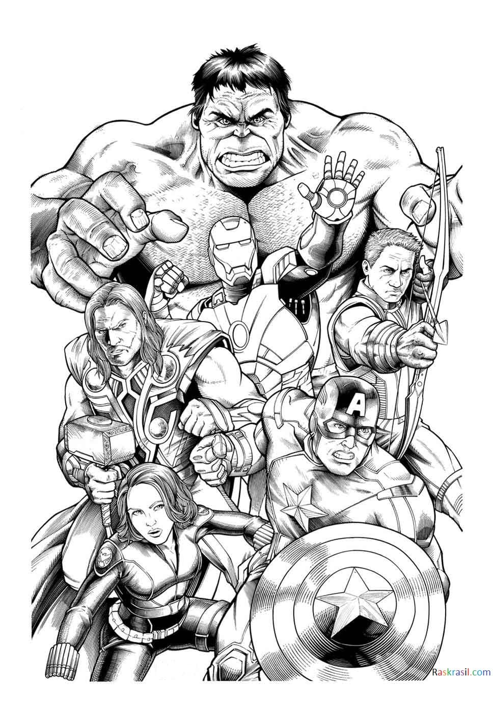 Раскраски Мстителей, 110 штук! Распечатайте на сайте!