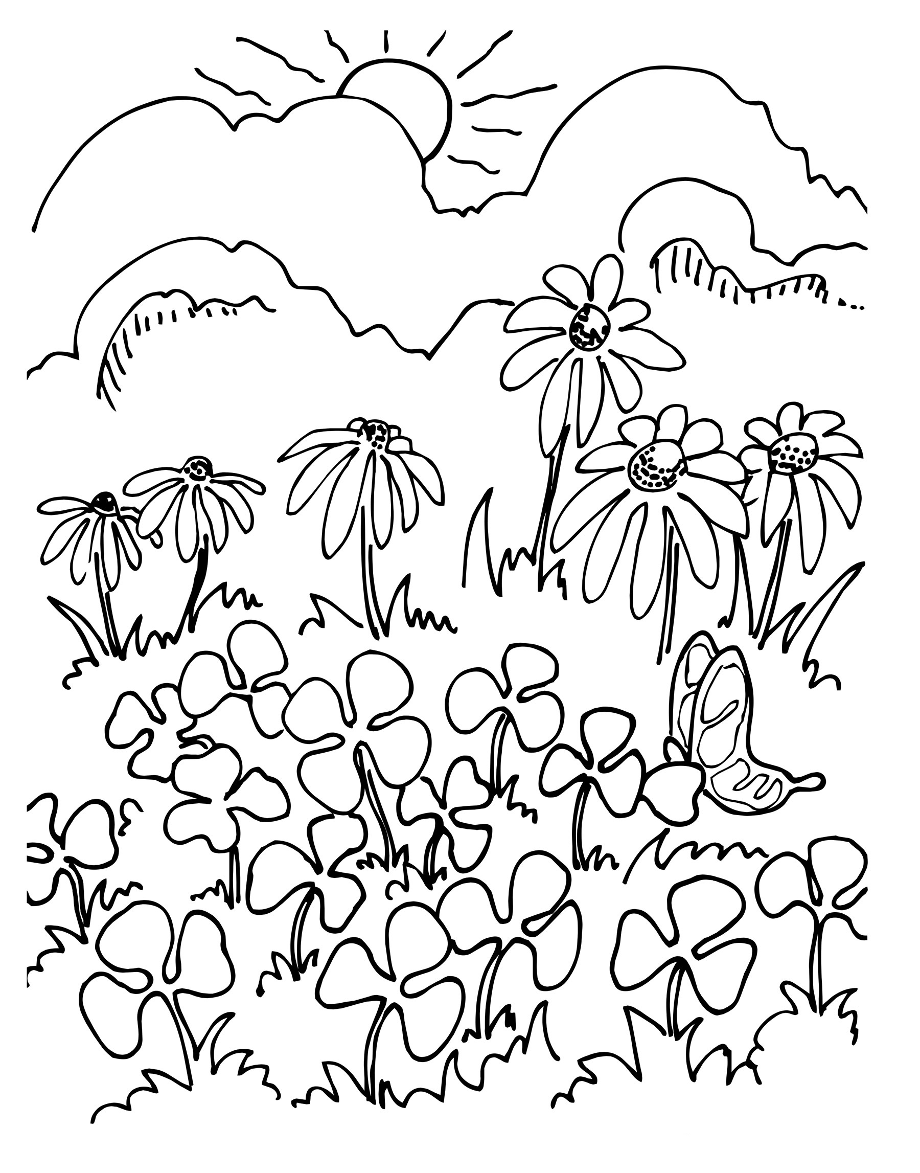 Printable coloring page for adults with mountain Vector Image | 2294x1800