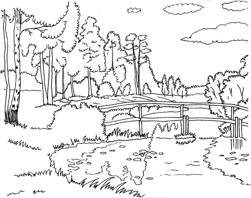 Coloring Pages Nature. Landscape, forest, mountains, sea, island