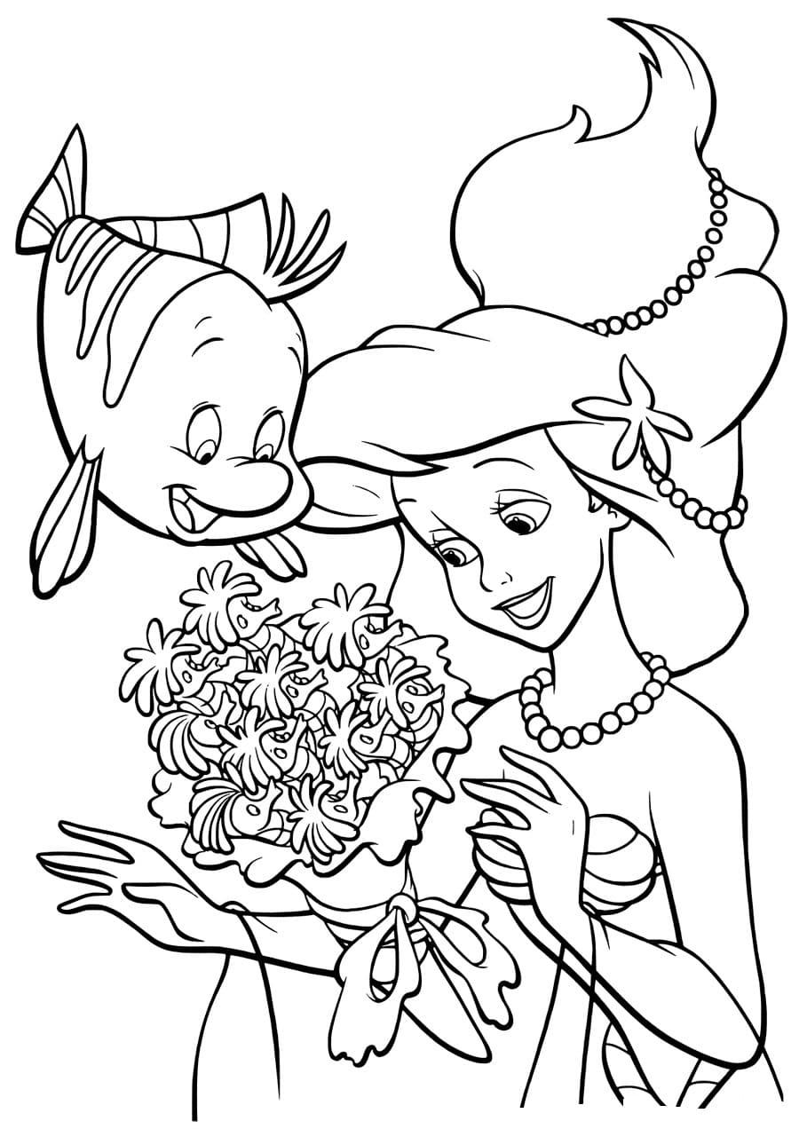 Раскраски Русалочка Ариэль. Распечатать бесплатно