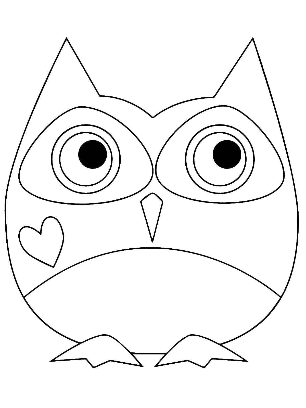 Картинка совушки для раскрашивания