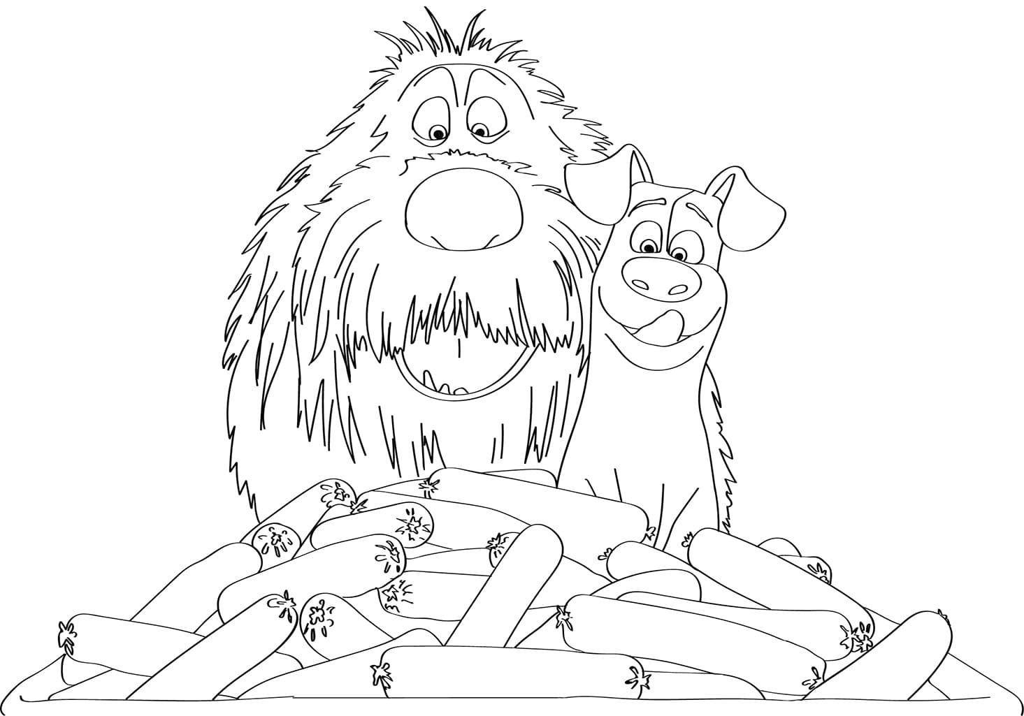 Раскраски Тайная жизнь домашних животных. Распечатать бесплатно