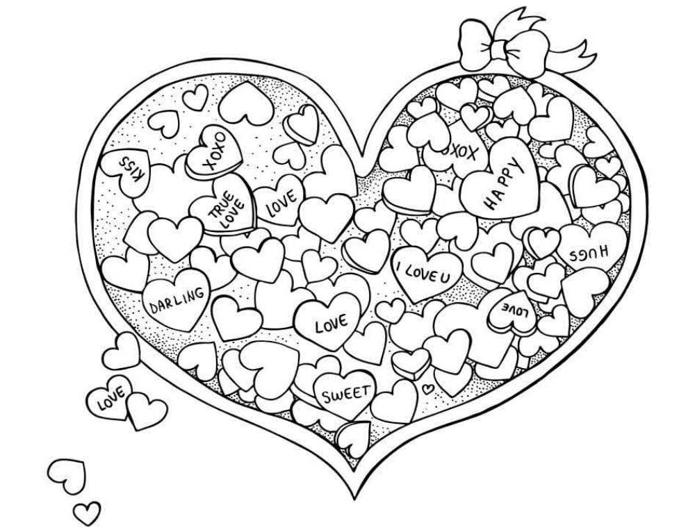 Coloring Pages Valentine's Day. 80 pictures by February 14