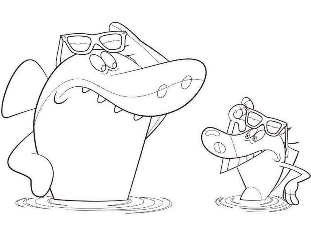 Desenhos de Zig e Sharko para colorir. Hiena, tubarão, Marina grátis