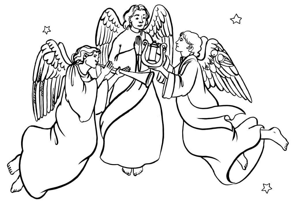 Раскраски Ангелов - Скачать или Распечатать бесплатно