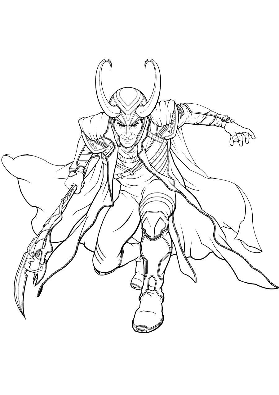 Loki Coloring Pages Free Printable Marvel Character