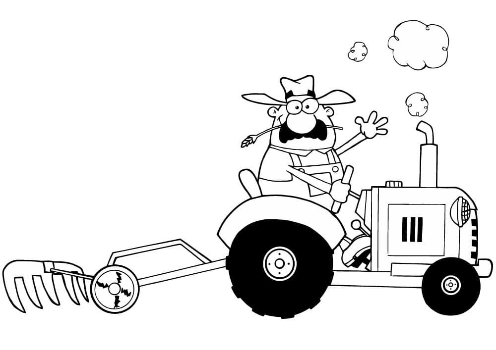 ausmalbilder traktor comic  coloring and drawing