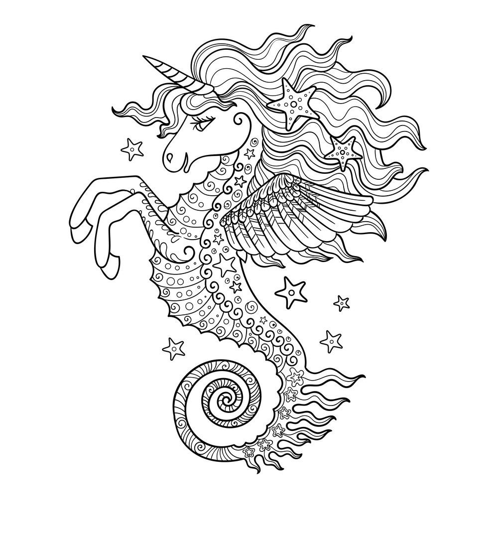 meerjungfrau seepferdchen ausmalbilder  coloring and drawing