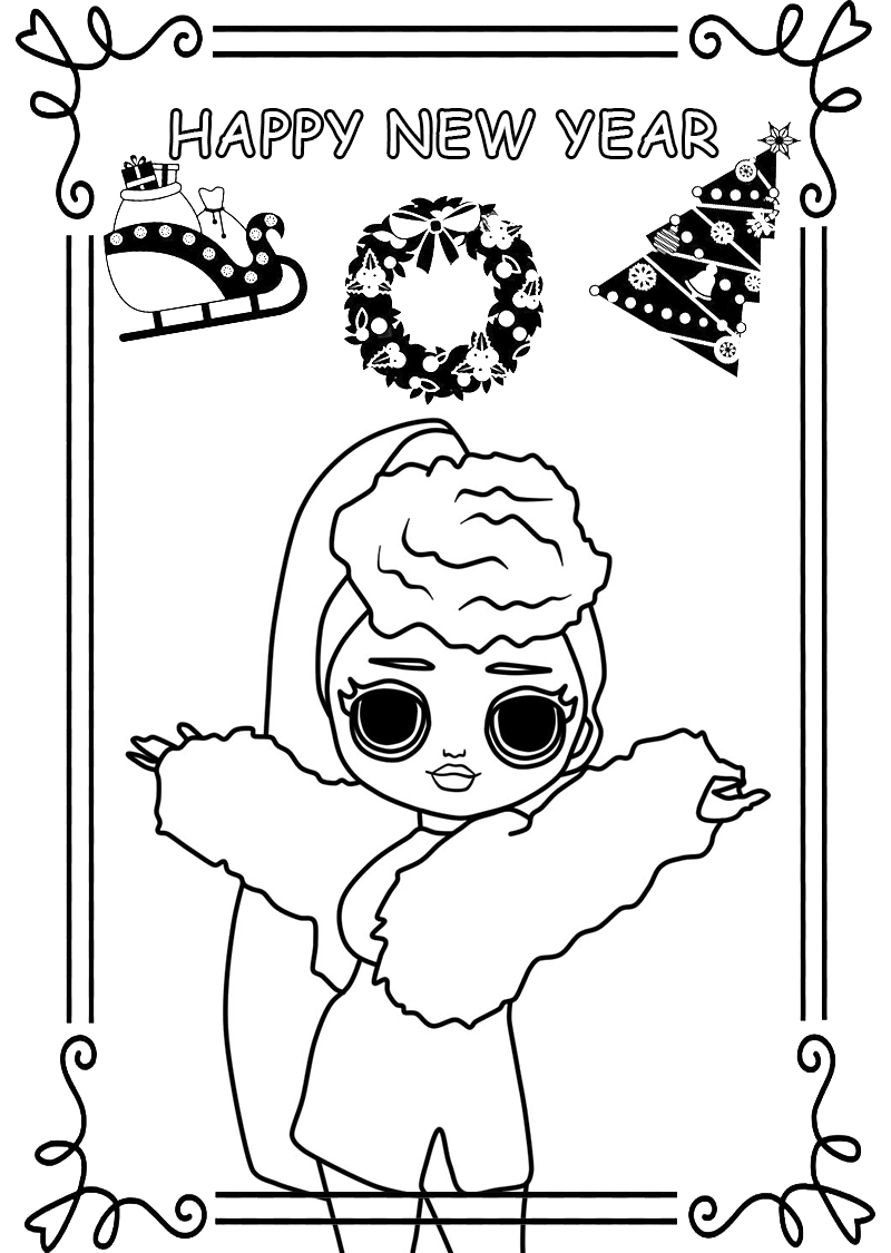 Happy New Year Coloring Pages. 160 New Greeting Cards Coloring Pages