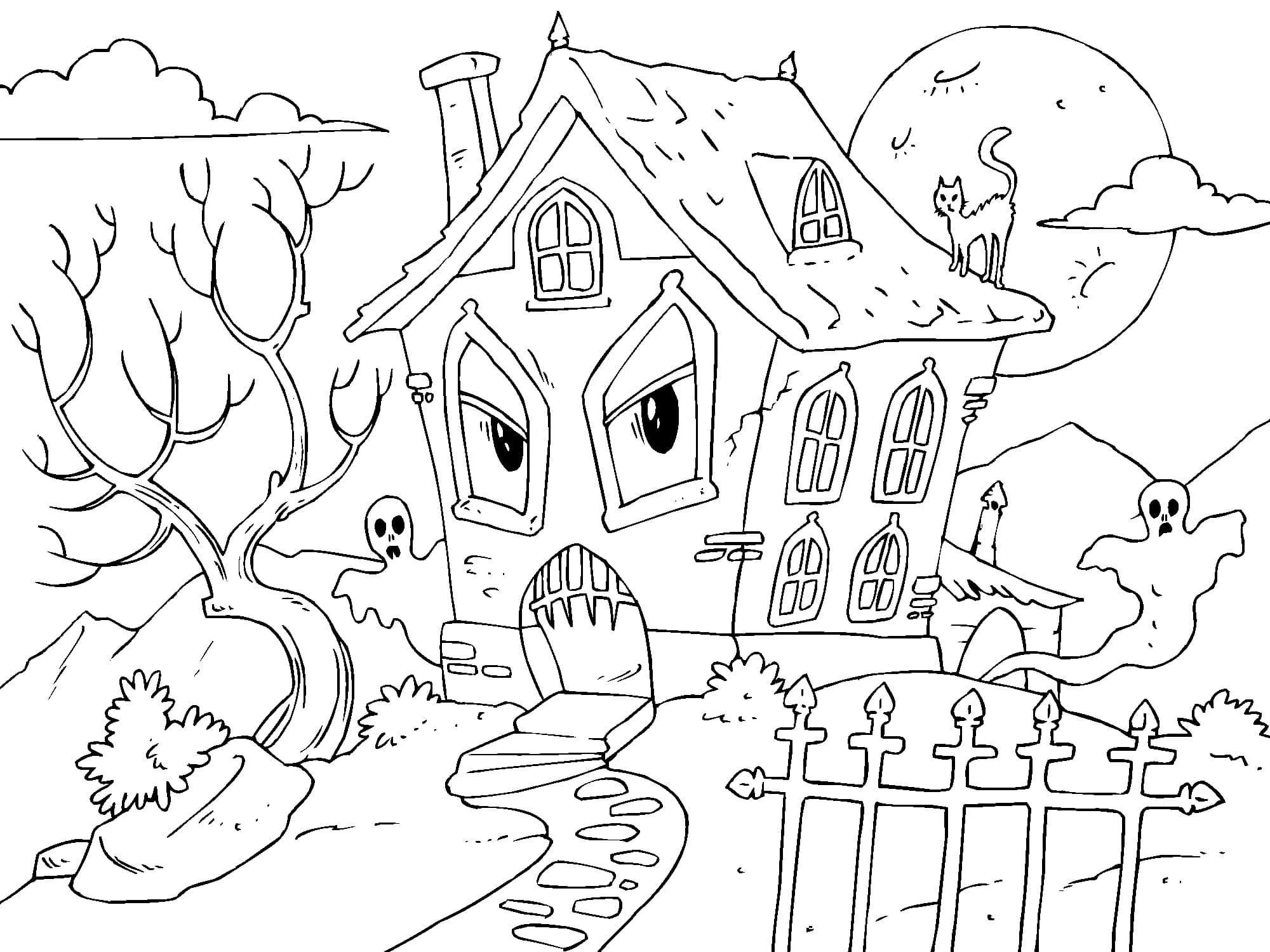 Ausmalbilder Haus mit den Geistern. Halloween Malvorlagen