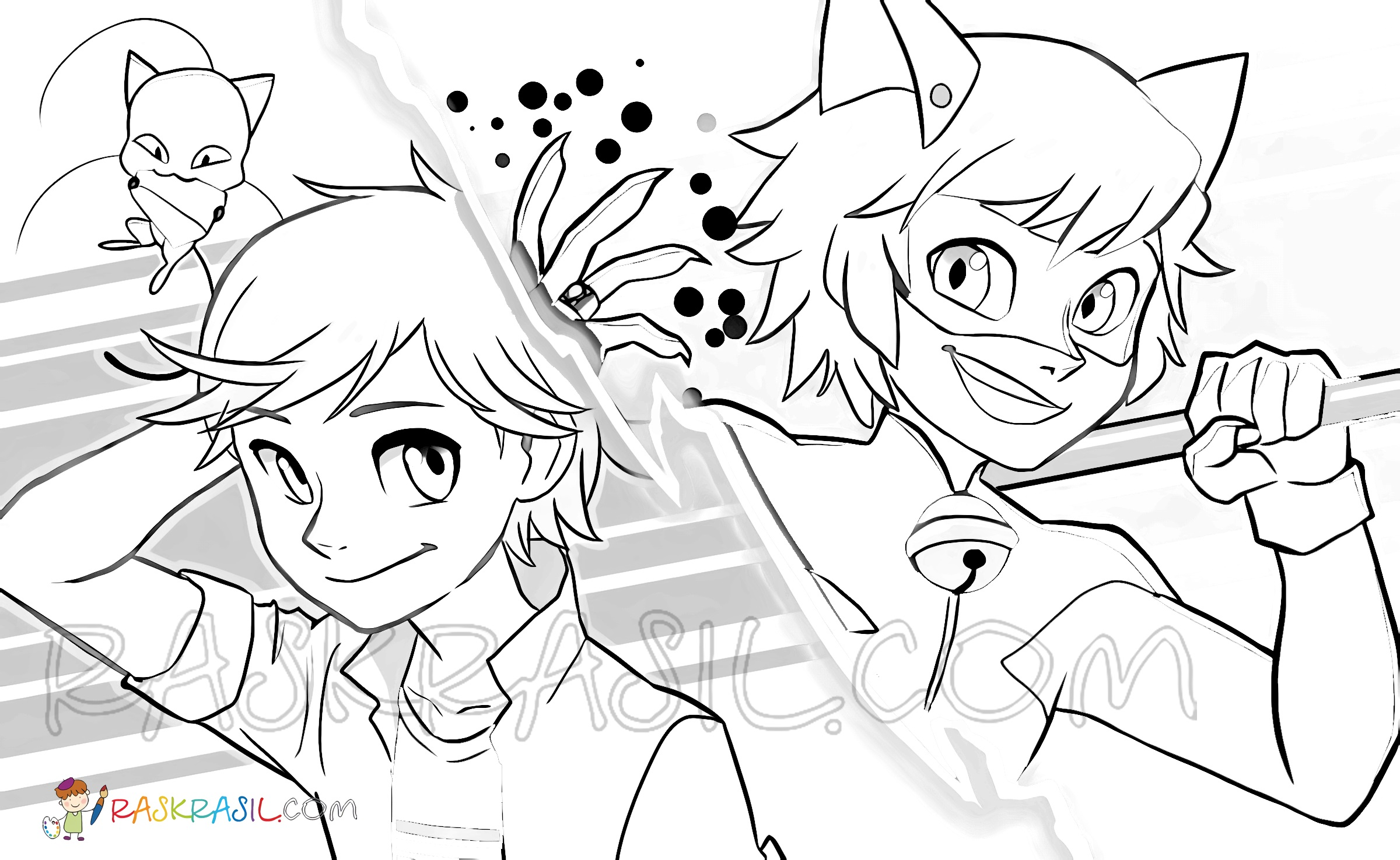 Ladybug And Cat Noir Coloring Pages Print For Free