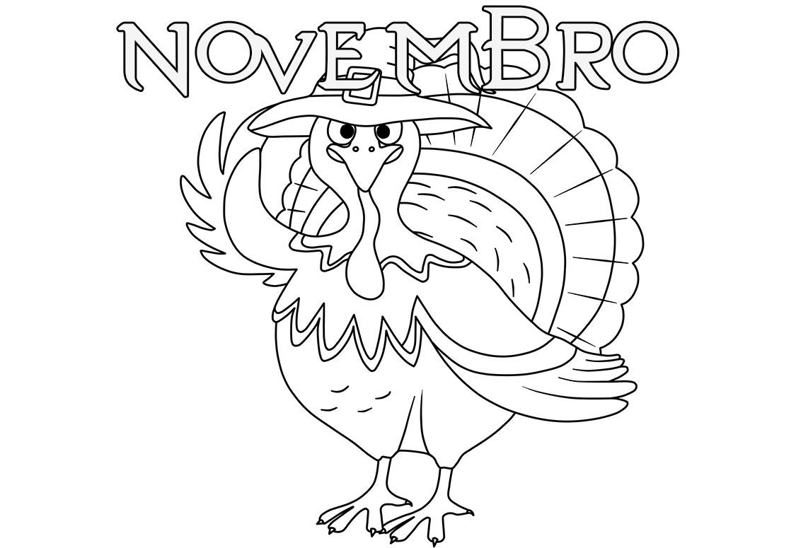 Desenhos para colorir mes de Novembro. Imprima gratuitamente