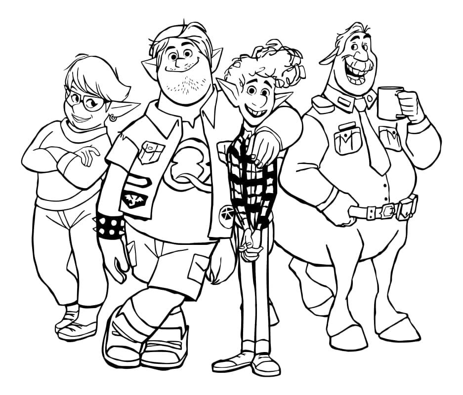 Раскраска по мультфильму Вперёд. Распечатать бесплатно