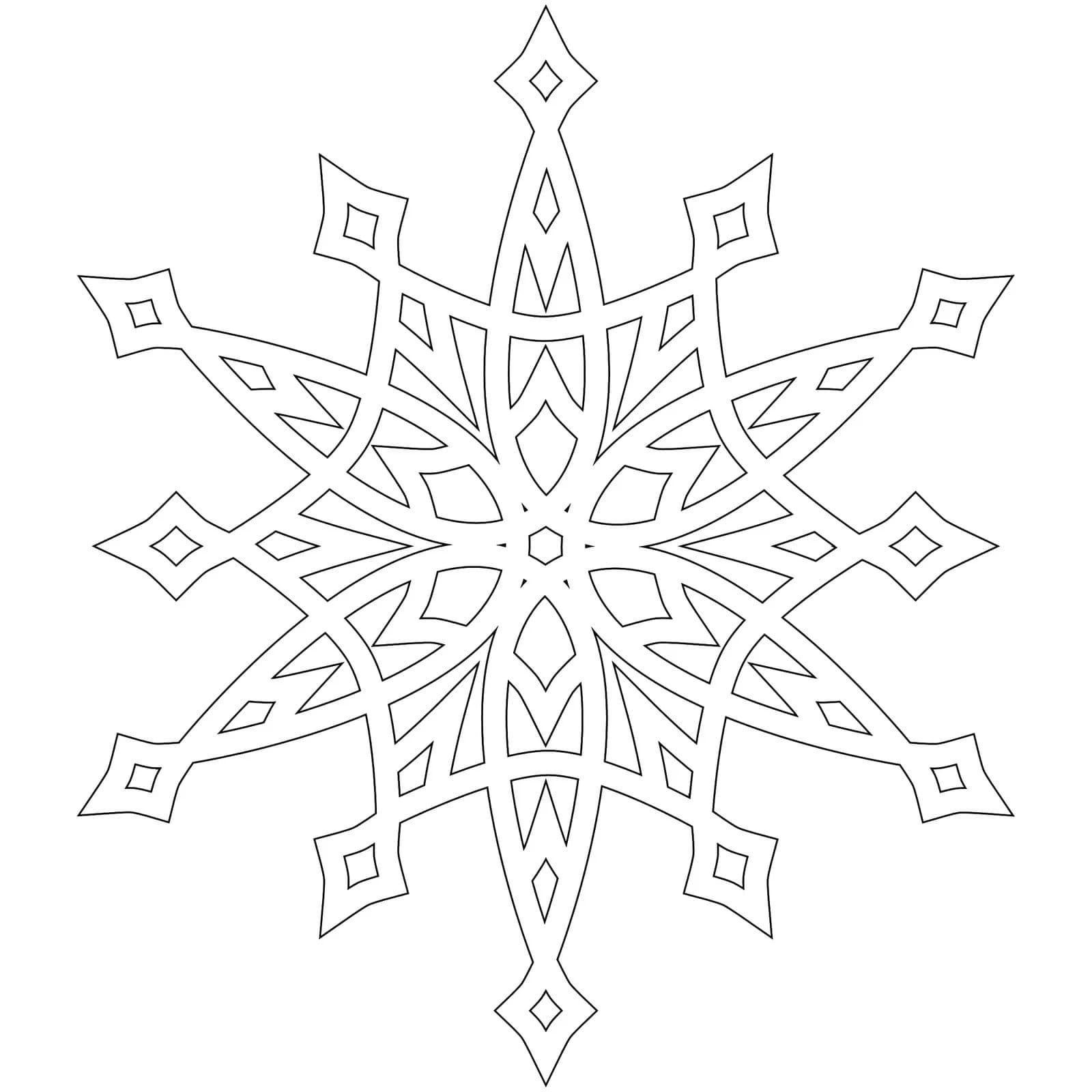 Ausmalbilder Schneeflocke. 7 Bilder zum kostenlosen Drucken