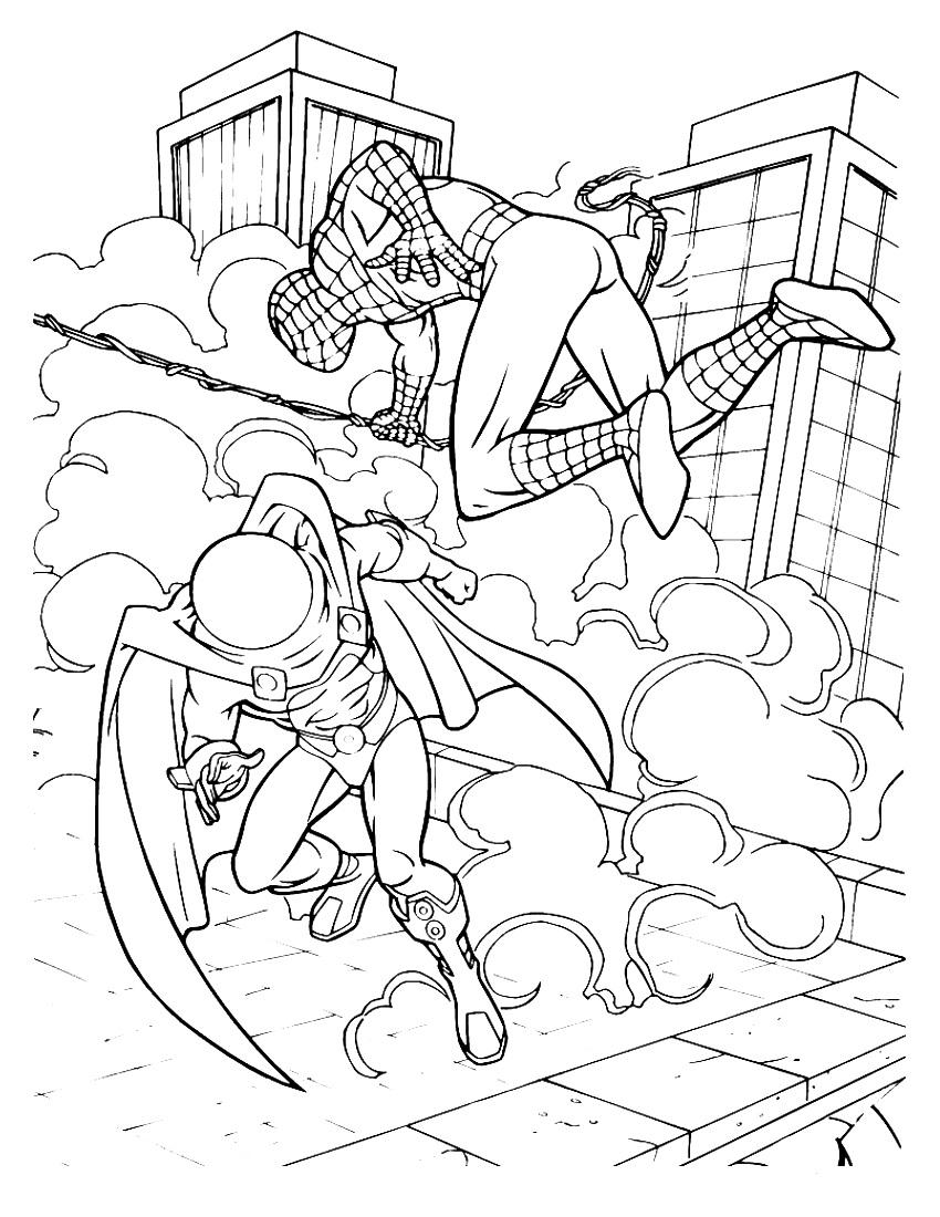 Dibujos de Spiderman para colorear. Imprimir superhéroe en línea