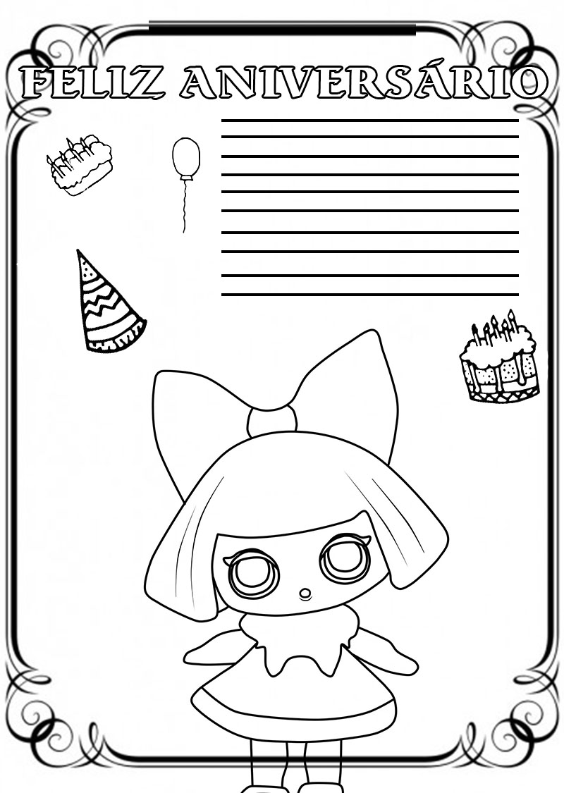Desenhos de Feliz aniversário para colorir. Imprimir cartão postal