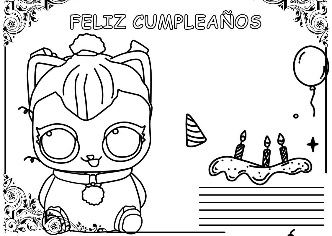 Dibujos para colorear Feliz Cumpleaños. Imprimir postales