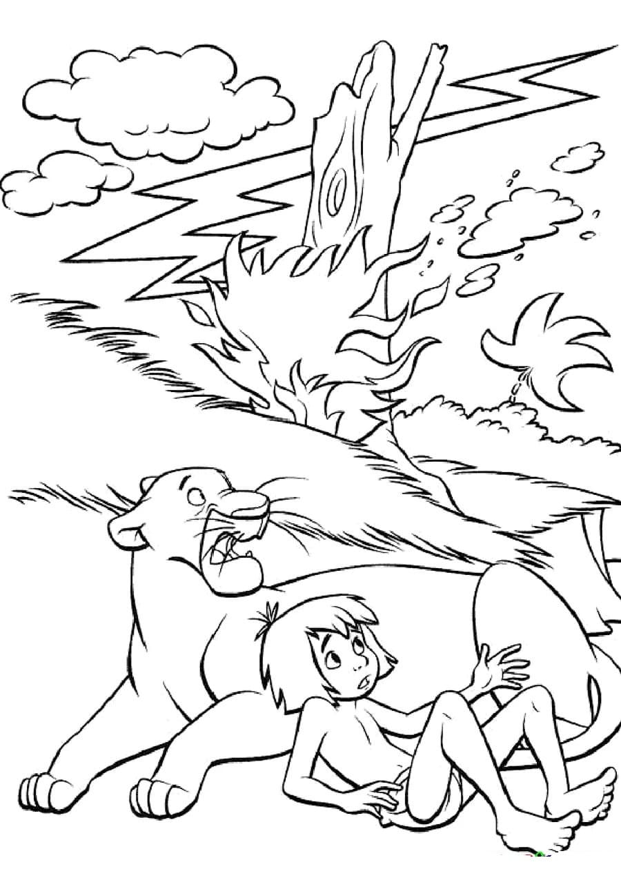 Il libro della giungla disegni da colorare. Liberi di stampare