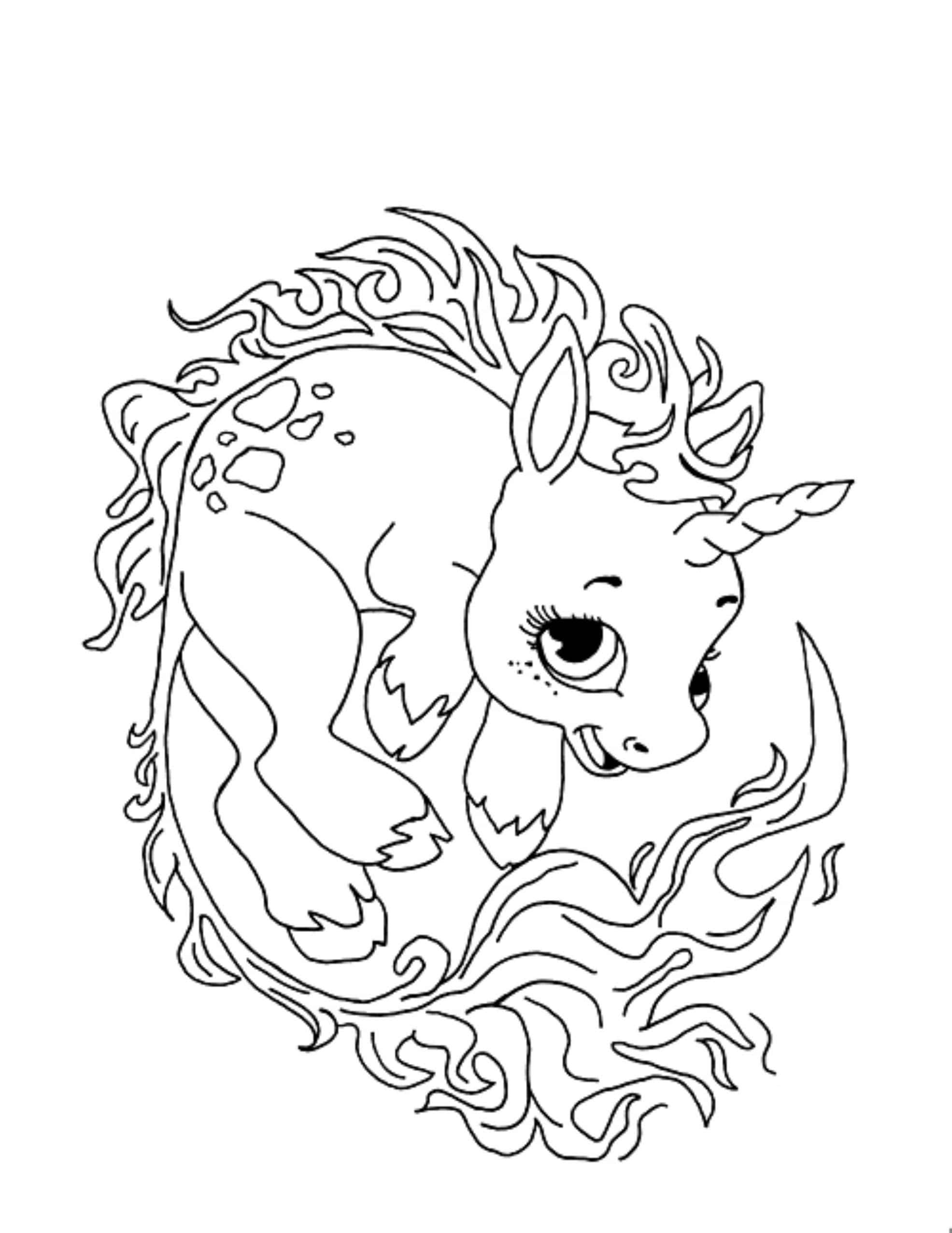 Unicorn Coloring Pages, 100 Black and White Pictures. Print ThemOnline!