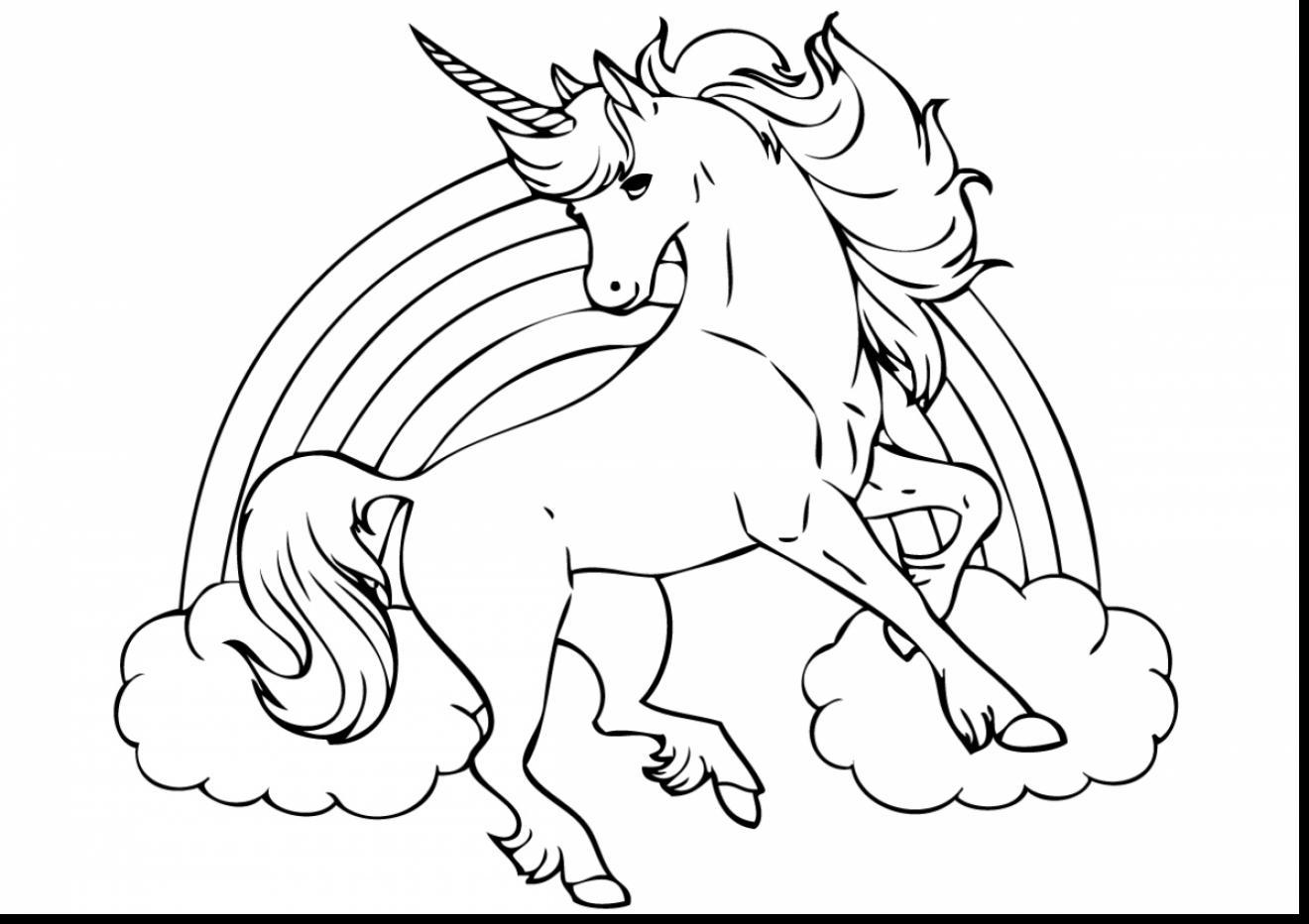 Unicorn Coloring Pages 100 Black And White Pictures Print