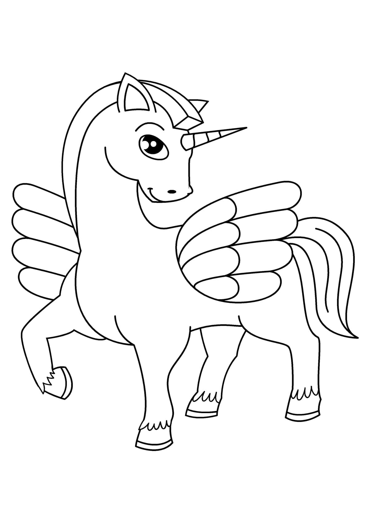 Coloring Pages of Unicorns, 100 Black and White Pictures. Print Online!