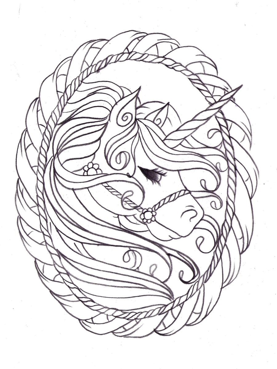 Unicorn Coloring Pages, 100 Black and White Pictures. Print ...