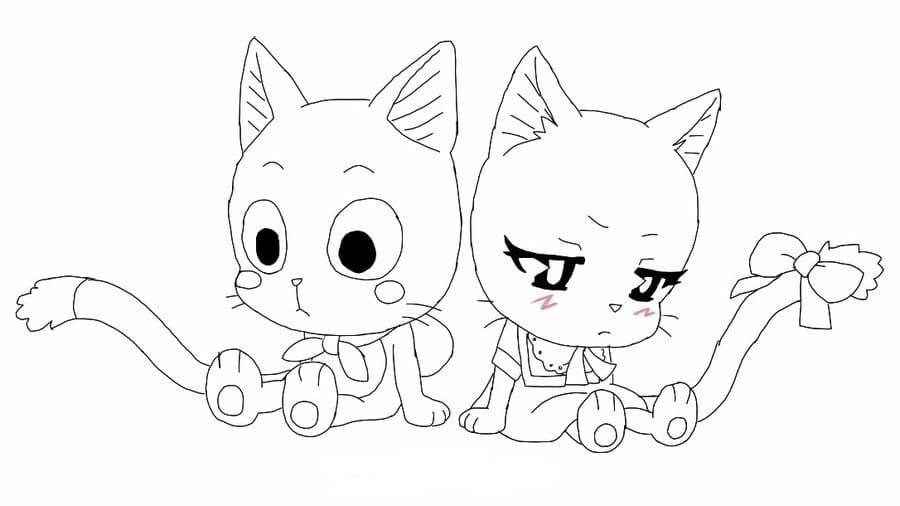 Раскраски Хвост феи. Распечатайте бесплатно героев из аниме
