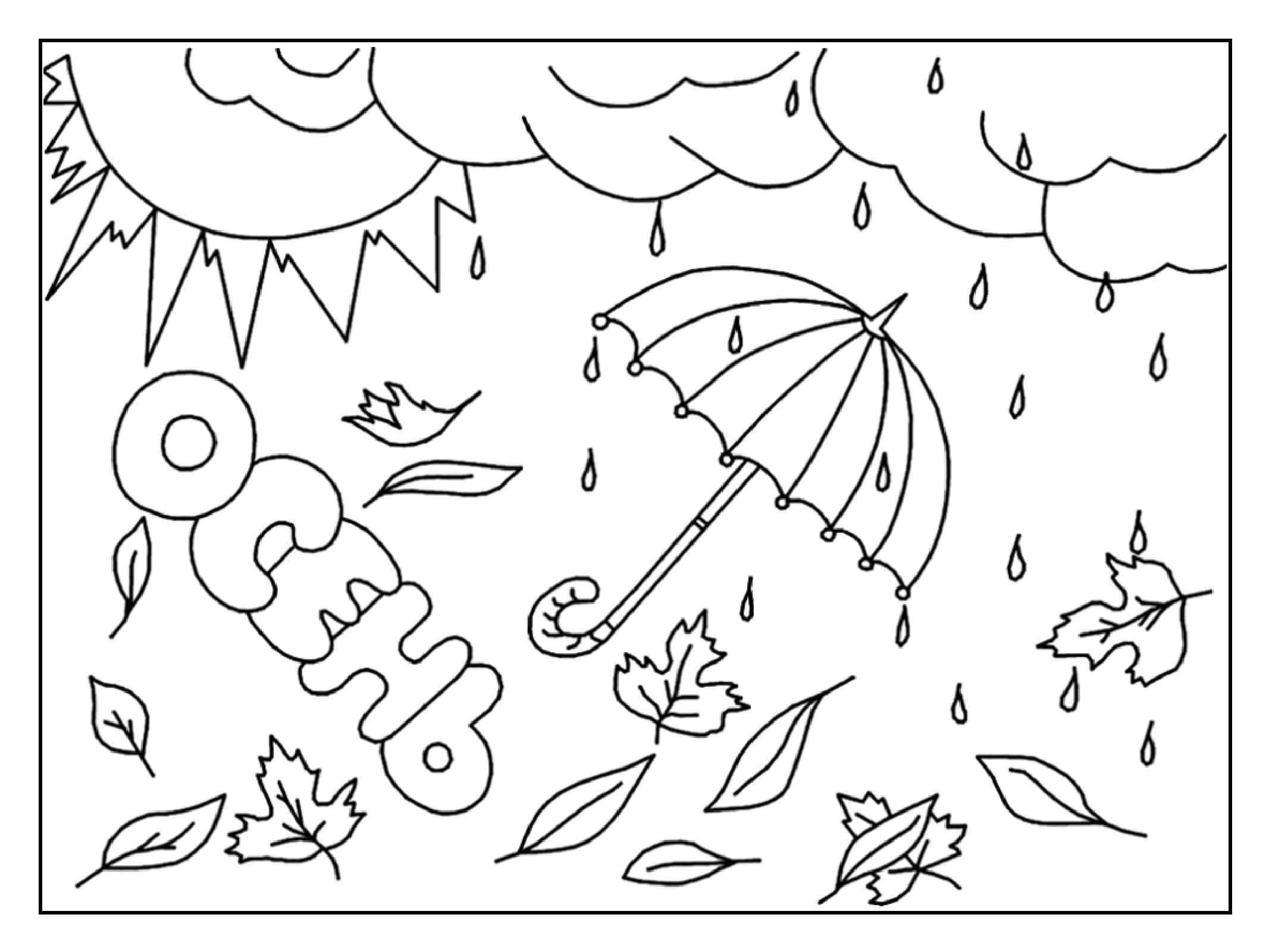 Осень картинки раскраски для малышей