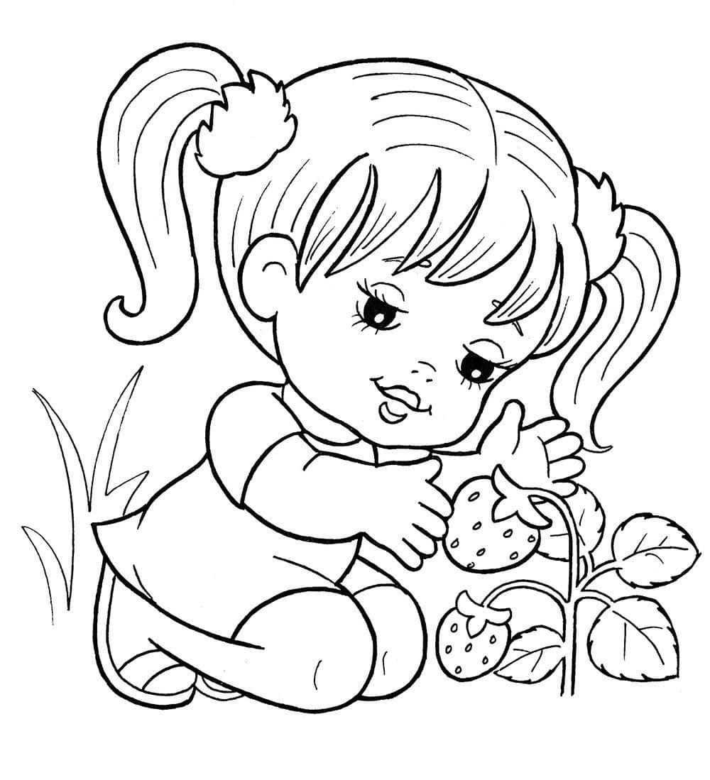 Маленькая девочка раскраска для детей