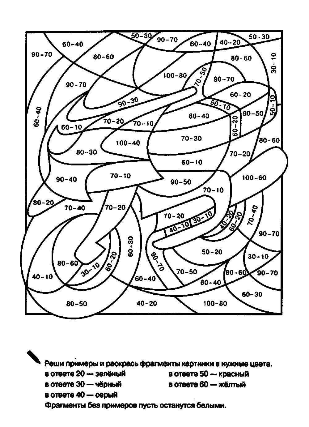 Математические раскраски для 2 класса. Примеры, уравнения. Распечатайте!