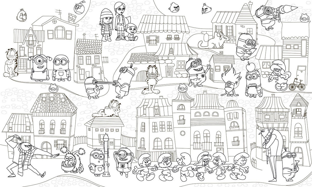 Coloring pages Minions. 100 images from Despicable Me Cartoon