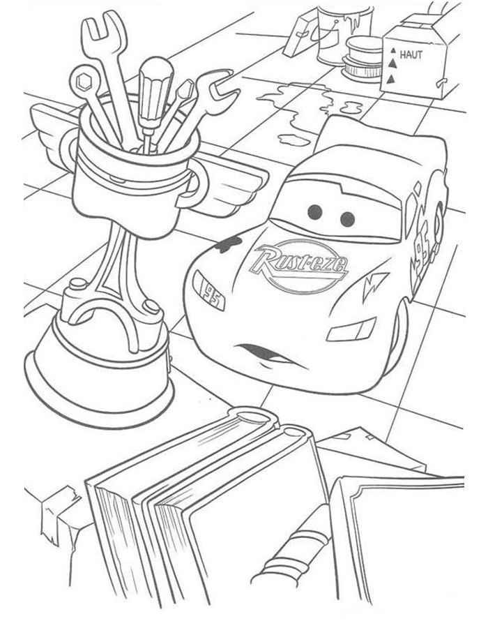 "Раскраски ""Молния Маквин"" из мультфильма ""Тачки"". Распечатайте онлайн"