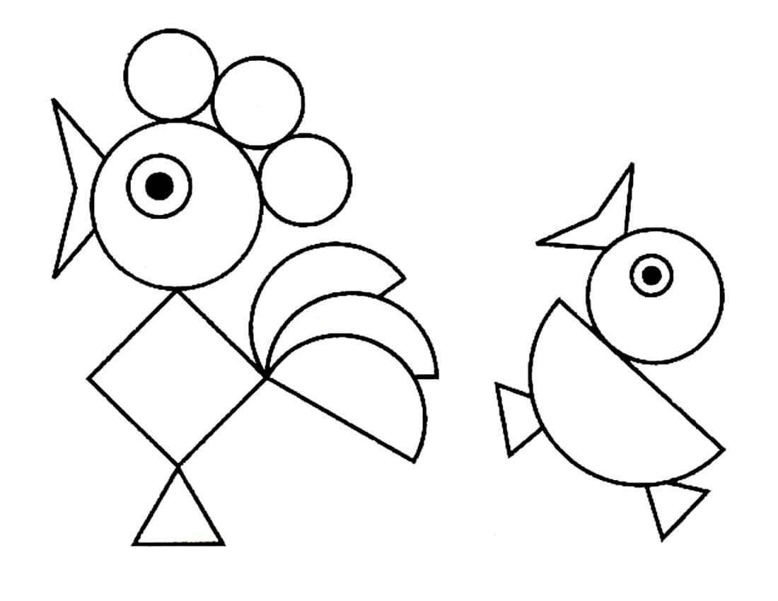 несложные картинки из геометрических фигур есть