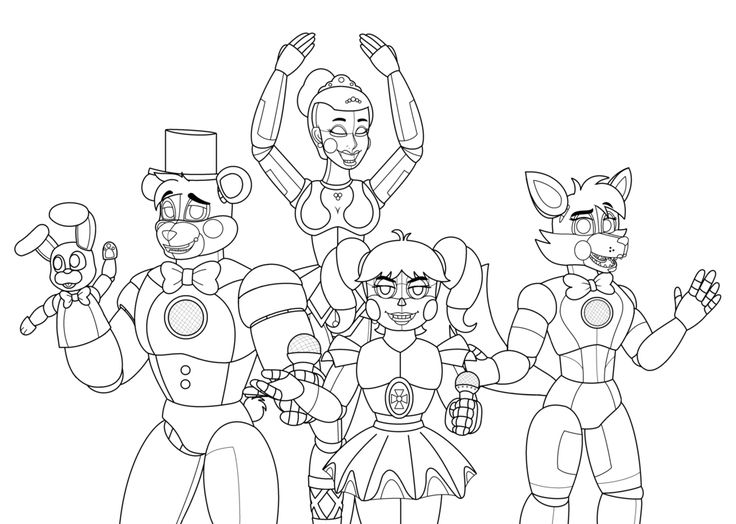 аниматроники раскраски с персонажами известной игры