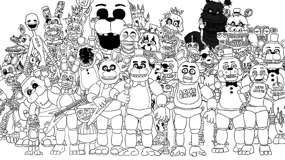 Аниматроники: раскраски с персонажами известной игры