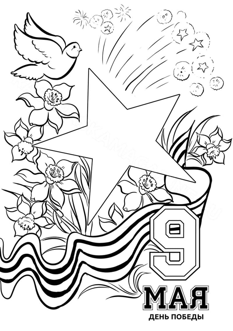 Раскраски открыток на 9 мая, анимационные днем рождения