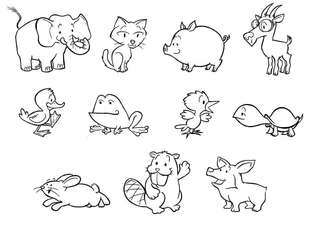 мини картинки животных распечатать