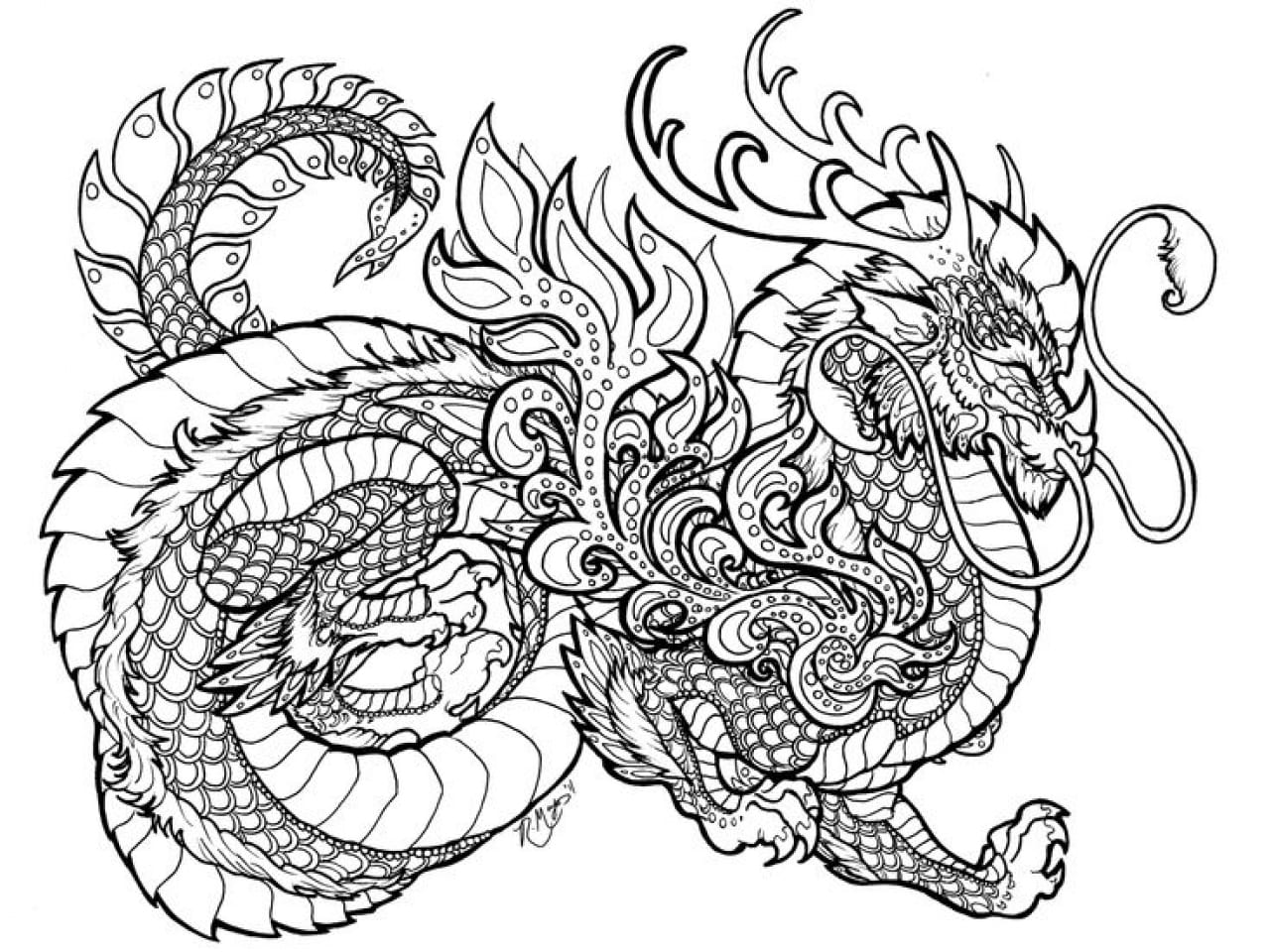 Coloring Pages of Dragons. 100 Free Black and White Images