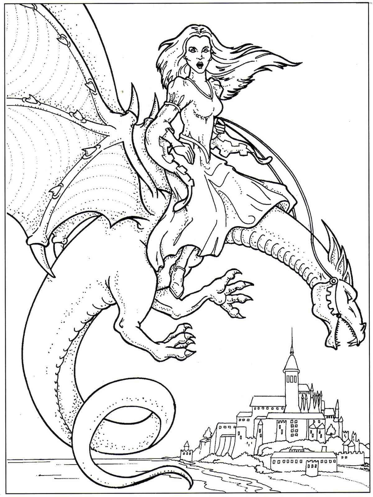 Draghi pagine da colorare. 100 immagini in bianco e nero gratis