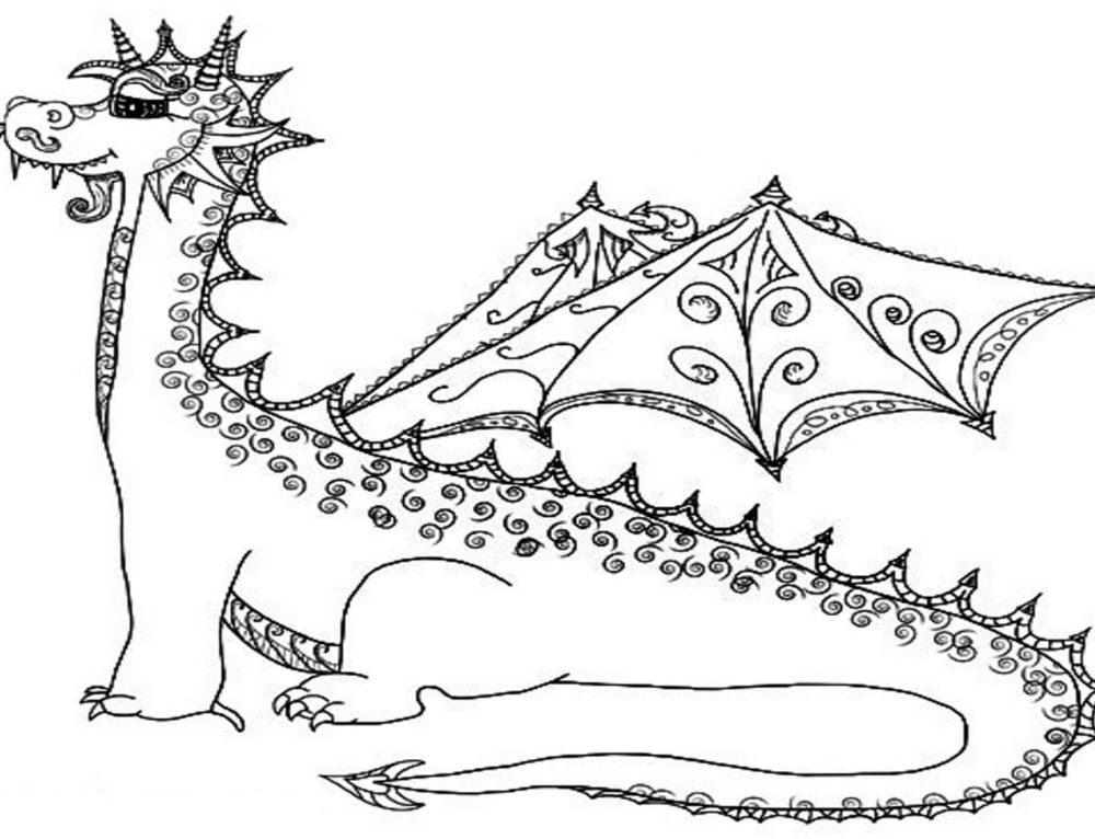Drachen Ausmalbilder. 100 Schwarz-Weiß-Bilder kostenlos